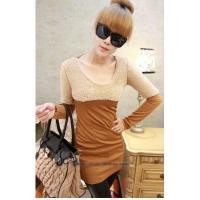 Buy cheap Hot Sale Fashion Style Round-Neck long Sleeve Woolen Patch Slim t-Shirt Dress from wholesalers