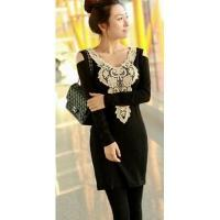 Buy cheap Korean Hot Sale Lady Sexy Style V-Neck Off The Shoulder Slim Long Sleeve T-Shirt Dress from wholesalers