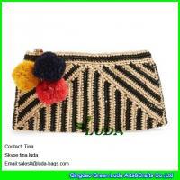 China LUDA wholesale handbags fashion raffia bags striped straw women clutch on sale