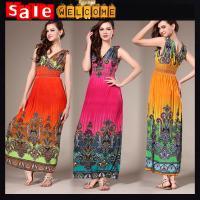 China Summer Dress Factory Wholesale ,Flower Print Long Evening Dress ,Sleeveless Sexy Dress on sale