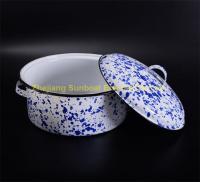 China blue+white uni-color cast iron kitchen cookware enamel soup pot on sale