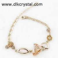 China New Fashion Filled Flower Leaf Clear Austrian Crystal Bracelet Bangle Jewelry on sale