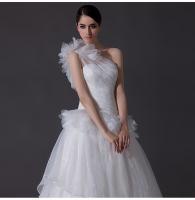 Luxury one shoulder Satin Long Train Wedding Dresses tulle skirt for Summer / Autumn