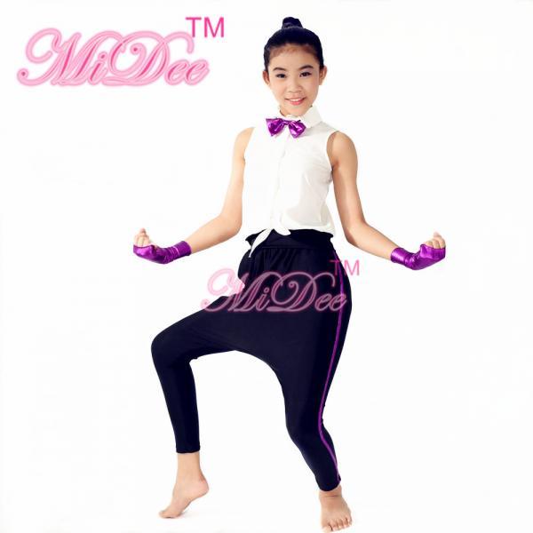 5896acdb1ee1 Vital Hip Hop Dance Costumes White Sleeveless Shirt Purple Bow Tie Black  Leotard Images
