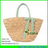 China LUDA rayron bwoknot natural straw handbags seagrass straw woven tote purse bags on sale