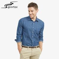 Buy cheap Plain Color Slim Fit Denim Shirt Mens , Blue Denim Shirt Anti Wrinkle from Wholesalers