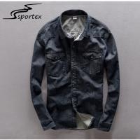 Buy cheap Plain Dark Blue Washed Denim Shirt Anti Pilling Featuring Denim Fabric Type from Wholesalers