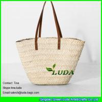 Buy cheap LUDA leather handles straw handbags wholesale cornhusk straw handbags from Wholesalers