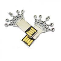 China Rhinestone Studded USB Flash Drive With Logo Printed Creative Crown Design on sale