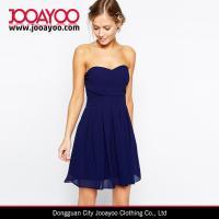 Buy cheap Latest Chiffon Dresses Pattern Navy Blue Strapless Chiffon Prom Dress from Wholesalers