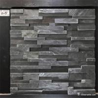 China Slate Culture Stone Black Slate Stone Wall Rockface Cladding CS-197 on sale