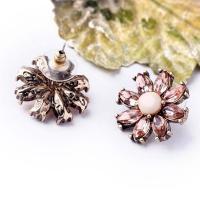 Buy cheap Fashion jewelry pink rhinestone flower stud earrings crystal rhinestone beads earrings from Wholesalers