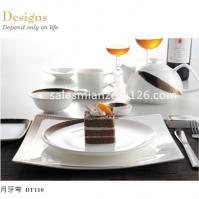 China Elegant Square shape Ceramic Bone Chinna Tableware Dinner set on sale
