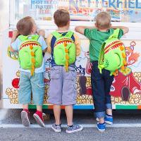 Softback Kid School Backpack For Boy , Dinosaur Animal Shape Kids School Bags
