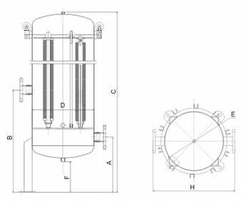 multi-cartridge stainless steel filter housing ,single bag filter housing