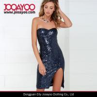 Women New Dress Design Elegant Sexy Navy Blue Sequin Strapless Dress