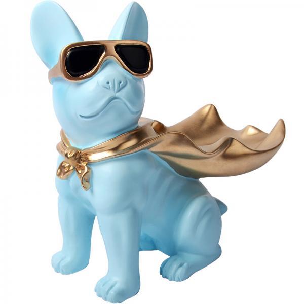 Modern Blue Bulldog Polyresin Animal Figurines Candy Snack Holder