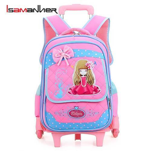 China Detachable trolley student girls wheeled school bag on sale