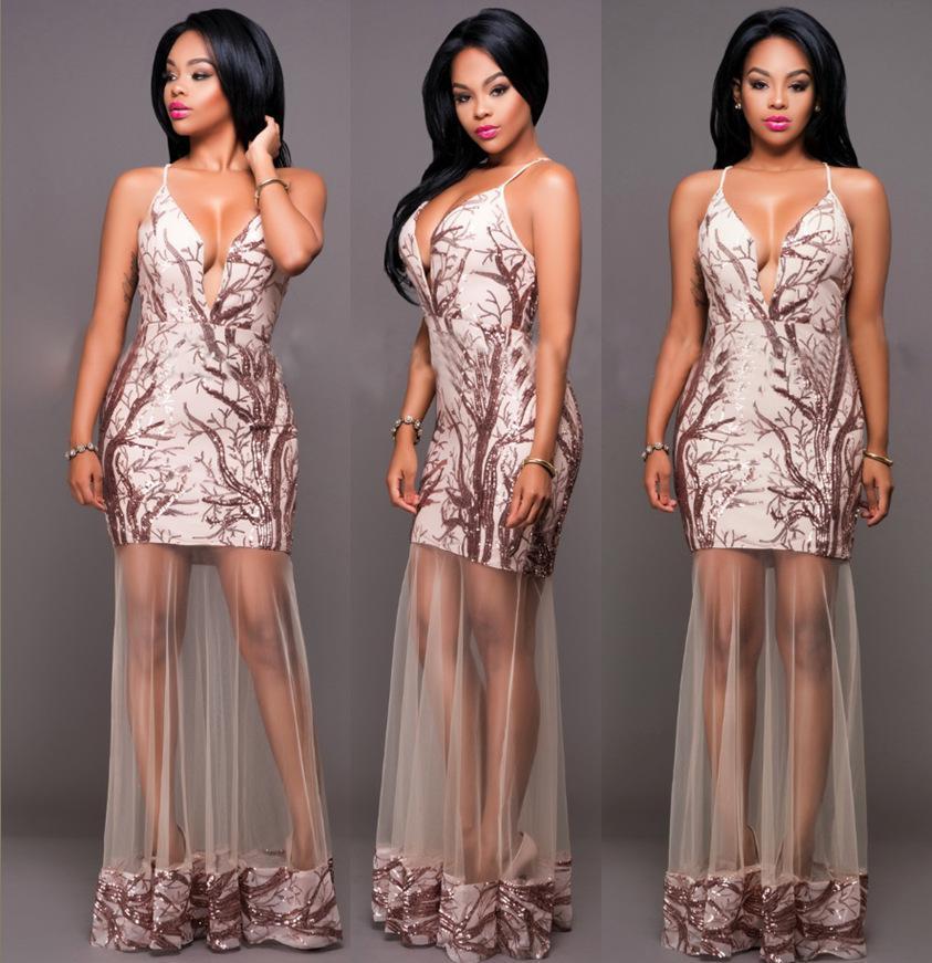 Sexy Sequins Deep V Neck Clubbing Dressses