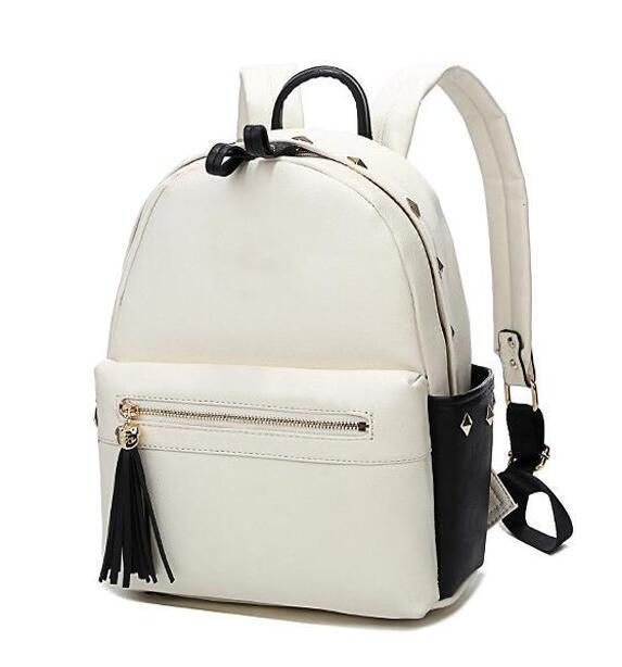 Front Zipper Pocket with Tassel Fashion Rivets School Backpack