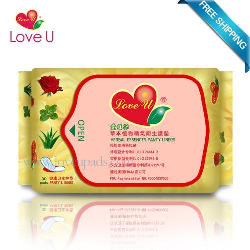 Buy cheap Love U Herbal Essences Panty Liners 4 Packs=120 Pieces FDA Certificate Length 16.3cm from Wholesalers