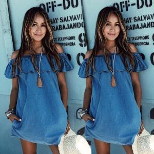 Buy cheap Off Shoulder Denim Short Dress 21478 from wholesalers