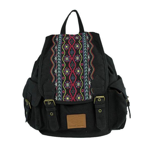 Buy cheap Vintage Style Embroidery Girls Backpack School Rucksack Lightweight Women Travel Cavans Backpack Bag from Wholesalers